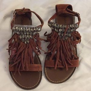 Fringe and jewel sandal